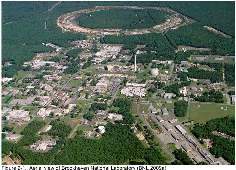 Aerial view of Brookhaven National Laboratory (NIOSH, 2009)